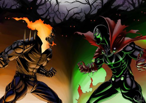 Ghost Rider vs. Spawn by ExiaLohengrin