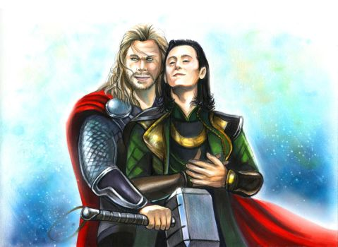 Thorki Thor Dark World fan-made poster with Copic by Yunuyei