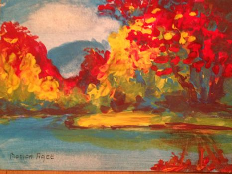 fall in tempera paint 5x7 by agstudio1