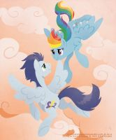 Above the Clouds - Rainbow and Soarin by RaynesGem