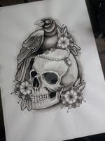 Skull and Crow Tattoo Design in progress by kirstynoelledavies