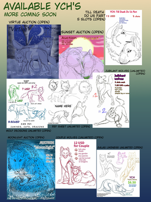 Available YCHs for page design  by Gerundive