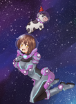 A Girl In Outer Space With A Cow by DannyPhoenix0013