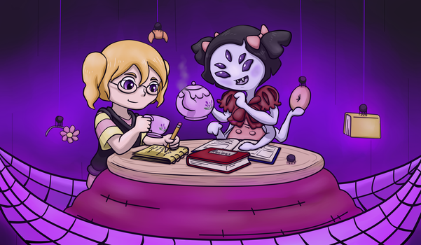 Muffet Having Tea with Perseverance by ShakeablePanda