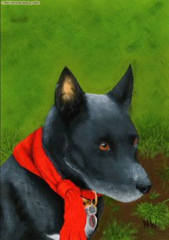 My Memorial Painting of my friend's late dog Babs. by Hoover1979