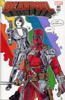 Deadpool and Domino Rainbow Sketch Cover by sullivanillustration
