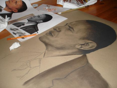 Obama Poster progress 1 by cruzaderazn