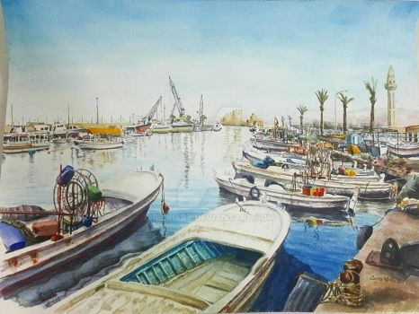 the old port of saida by Bizriart