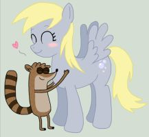 Rigby and Derpy by xoRose