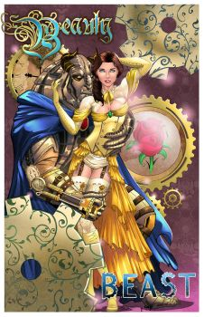 Steampunk Beauty and Beast - colors by nahp75