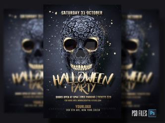 Black and Gold Halloween Flyer by RomeCreation