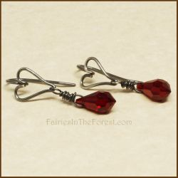 Silver Heart and Red Crystal Earrings by Gailavira