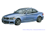 Car Drawing - BMW 2011 135i Blue Water Metallic