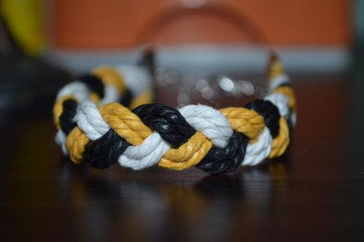 yellow white black braided bracelet by ghelalala