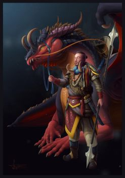 Dragon and Dragonrider by F-B-S-Augusto