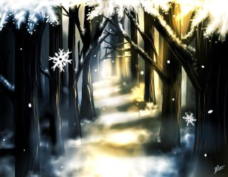 Winter forest by 1TheMidnightMoon1