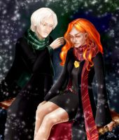 Draco and Ginny... snow by Rhysenn-M