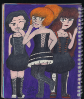 Sketchbook 31 - Terrible Temptation Trio (OCs) by TheEmily1220