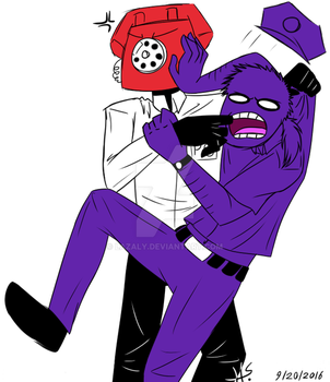 Phone Guy and Vincent fighting by Lazaly