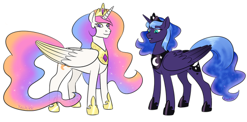 Headcanon Celestia and Luna by kaciekk