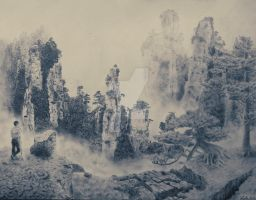 Beautiful Chinese Landscape - Pencil by andhe-startedto-said