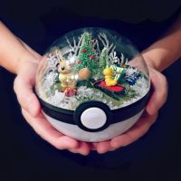 Eevee and Weedle Christmas - Poke Ball Terrarium by TheVintageRealm