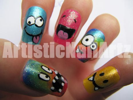 Crazy Smileys Nail Art. by zinajorna