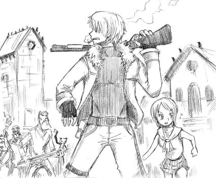 OnePiece...RE4 style by EggyComics