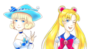 Majokko Yuki and Sailor Moon by Divine-Princess