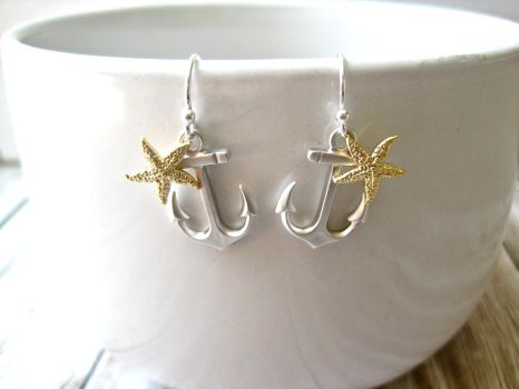 Nautical Anchor Starfish Earrings by SparkleMeHappy
