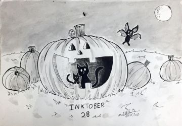 Inktober 28: Halloween Night by xYaminogamex