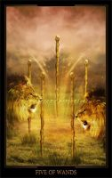 Five of Wands by ThelemaDreamsArt