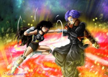 OC : Kalla Vs Trunks : first met ! by Maniaxoi