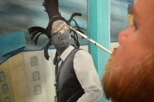 Me painting portrait of David Hinds by Paintmouth