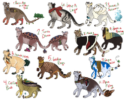 [OPEN] 12 Days of Christmas Feline Adopts by AlphaoftheClan