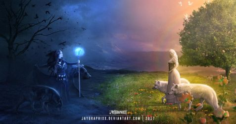 Cross Paths - Good And Evil by JayGraphixx