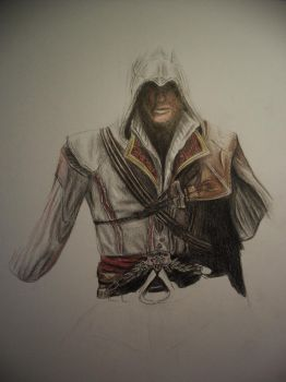 Ezio WIP 2 with coloured pencils by 12littlegiant21