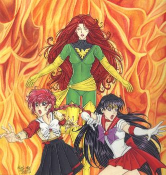 Jean Grey, Sailor Mars, and Hikaru for PyroPainter by Yamigirl21