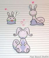 Goomy/Sliggoo/Goodra Stickers and Magnets by pixelboundstudios