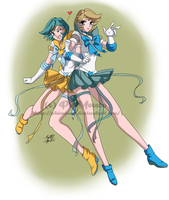C: Sailors Crystal Uranus and Crystal Neptune by PhiAngel