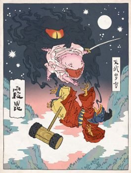 Kirby as an Ukiyo-e by thejedhenry
