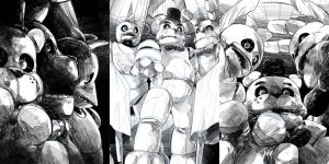 FNAF Commission book covers pencils by EyeOfSemicolon