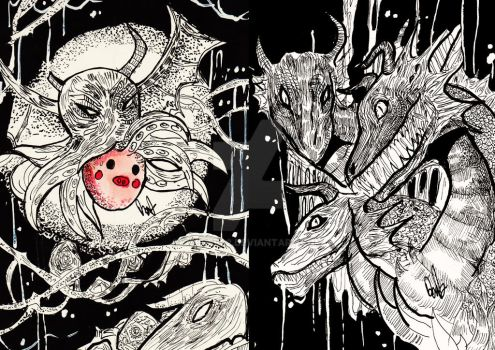 cthulu pig and hydra by DebDeb02
