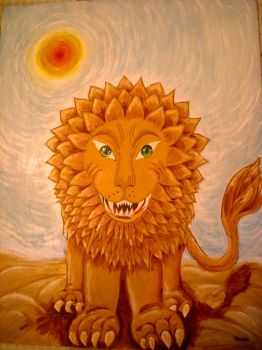 Lion in the desert by temuca