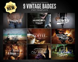 Vintage Badges PSD Template by Grandelelo