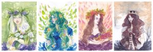 4 Seasons watercolour sketches by LualaDy