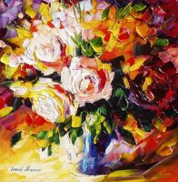 Love bouquet by Leonid Afremov by Leonidafremov