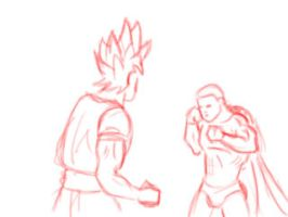 Goku vs Superman sketch layout animation by funkt-green