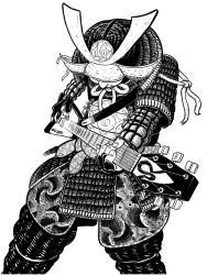 Guitar solo shredding samurai by scheurbert