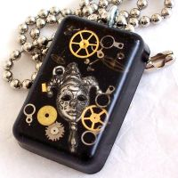 Steampunk Mardi Gras Pendant by resinated-etsy